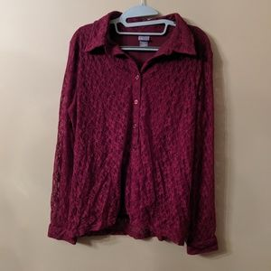 Burgundy Button Down with Lace Sleeves